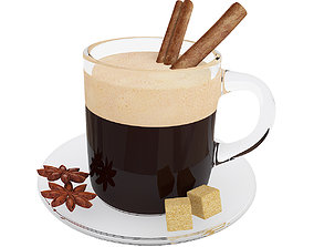 Coffee glass mug with cinnamon sticks and anise 3D