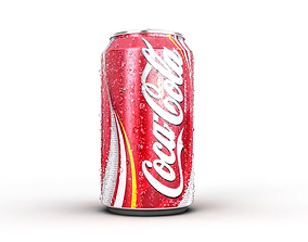Coke Can with drops 3D model