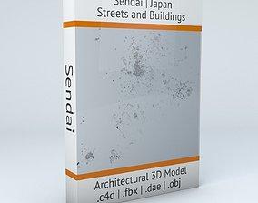 3D model squares Sendai Streets and Buildings