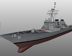 low-poly Arleigh Burke class destroyer ddg51 very low 2
