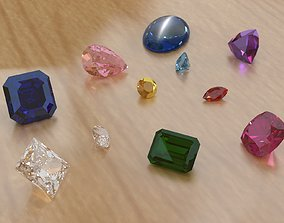 3D asset Assorted Gems and stone cuts
