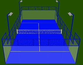 Blue Padel Court 3D