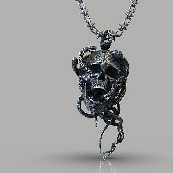 Skull entwined with snakes