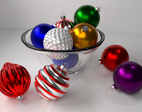 3D model Multi-colored Christmas Ornament Balls in a Bowl