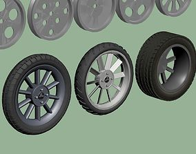 Car and motorcycle wheels and tires 3D