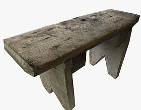 Vintage Square Wooden Stool Low Poly 3D asset