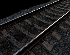 Railroad wit Concrete Sleepers 3D asset