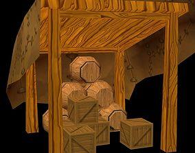 Storage with barrels - Mobile friendly 3D model