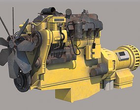 CAT Diesel engine VRay PBR 3D model