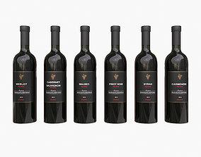 Wine bottles 3D model bar