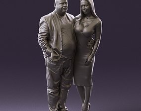 Fat man in browngray jacket with girl in red 1075 3D 1
