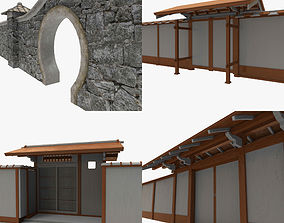 Modular Asian Wall Collection 3D asset game-ready