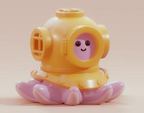 Diving Octopus Miniature and Render Scene 3D print model