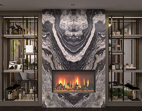 3D asset Wardrobe Display cabinets fireplace