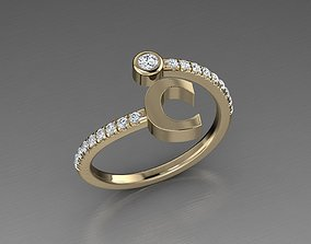Jewelry Alphabet Diamond Ring C 3D printable model