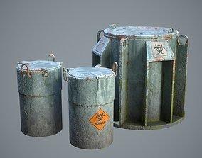 Biohazard toxic barrels Game-ready 3D model