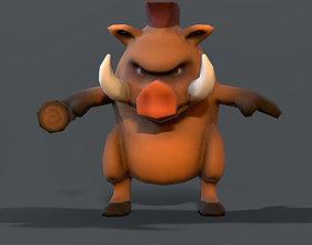 3D model boar low poly