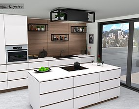 VR / AR ready kitchen with island 3d model