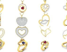 Love valentine ring earrings pendant 3dm render details
