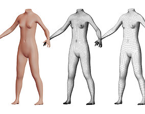 3D model Character 40 High and Low-poly - Body female