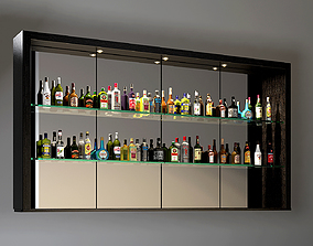 alcohol bottles collection 3D