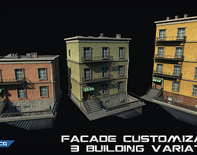 Customizable city building Low-poly 3D realtime 1