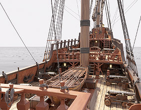3D sailboat Galleon with interior
