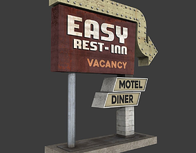 3D asset Motel Sign 2
