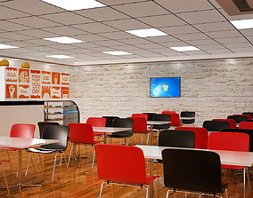 3D Cafeteria Interior Design