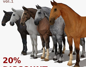 LowPoly Horses Collection volume 1 3D model