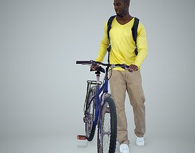 Man with Bicycle Wearing Yellow Shirt 3D