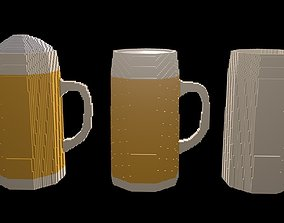 3D Beer mugs voxel 4