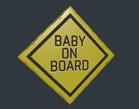 Baby on Board Sign 3D model