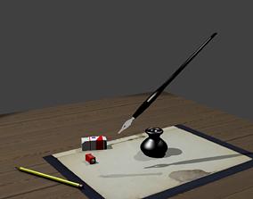 Desk Writing Implements 3D asset