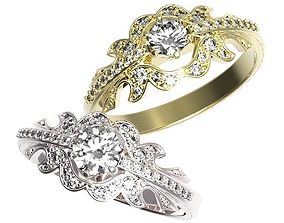wedding Gold ring with a diamond 3D print model
