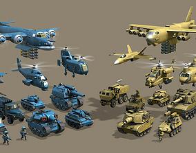 Cartoon army Low Poly 3D model