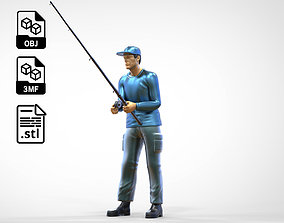 N2 standing Fisher with fishing rod 3D print model