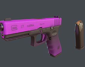 3D model animated Purple Glock 17 with magazine