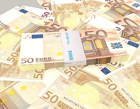 3D model 50 euro banknote packs