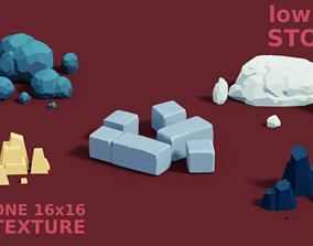 3D asset Low-poly cartoon stones
