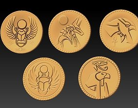 3D printable model Egyptian gold coins