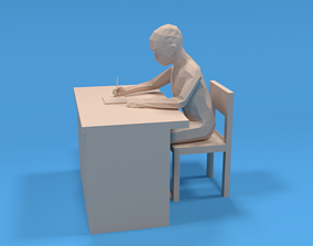 Low Poly Kid Sitting and Writing 3D model