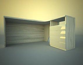 Desk corner with drawers 3D asset