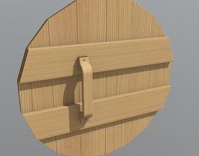 3D asset VR / AR ready Wooden Shield