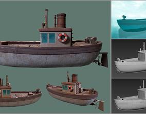 Stylized Low-poly Boat 3D asset