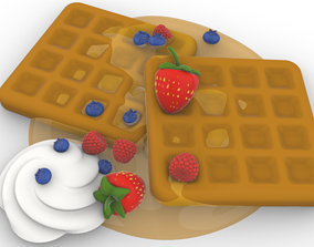 waffle and fruits breakfast time 3D printable model