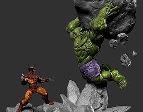 3D print model Diorama Hulk vs Wolverine