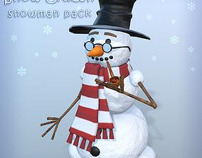 3D model game-ready Snow Citizen - snowman pack
