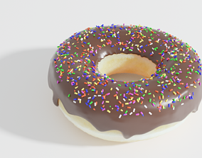 celebration 3d chocolate donut model with sprinkles