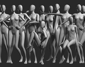 Animated Female Mesh - 14 poses v3 3D model game-ready